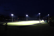 Night view of the lighted soccer field