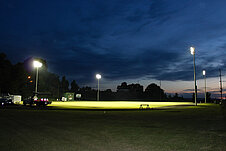 Evening view of soccer field lighting